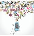 Mobile smartphone social media applications vector image