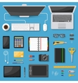 Workspace Top View Decorative Icons Set vector image
