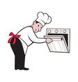 Cartoon Chef Baker Cook Opening Oven vector image