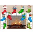 Christmas socks by the fireplace vector image
