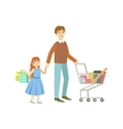 Father And Daughter Shopping Together vector image