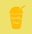 Hand drawn smoothie to go cup and smoothie time vector image
