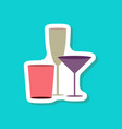 paper sticker cocktail glasses vector image