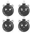 set of flat black isolated christmas tree toms vector image