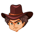 An angry face of a cowboy vector image vector image