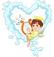 little baby angel with harp vector image