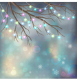 Christmas Light Bulbs on Xmas Night Background vector image