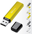 yellow usb flash drive vector image vector image