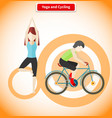 Yoga and Cycling Sport Concept Design vector image
