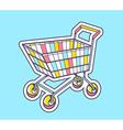 colorful shopping trolley top view on blu vector image