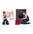 plumbing specialist plumber repairman fixing vector image