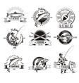 Vintage Fishing Labels Set vector image