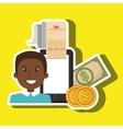 man smartphone taxes money vector image