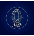 Vintage floral alphabet letter Q vector image