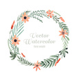 Watercolor flower frame vector image vector image