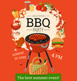 bbq barbecue party announcement poster vector image