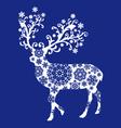 Blue chirstmas deer vector image