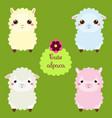 cute lamas cartoon llama characters happy kawaii vector image