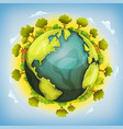earth planet with forest and agriculture elements vector image