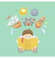 Imagination concept boy reading a book rocket vector image