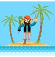 Pirate on treasure island vector image