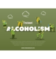 Treatment alcoholism banner with drunk alcoholic vector image
