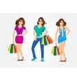 women carrying shopping bags vector image