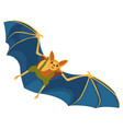 yellow bat with blue wings hand drawn on white vector image