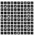 100 gardening icons set grunge style vector image