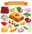 food and spice ingredient for lasagana vector image