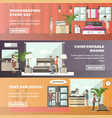set of hotel horizontal banners in flat vector image