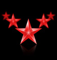 Five red stars in the shape of wedge on black vector image