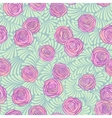 Seamless pattern with pink roses on cute curls in vector image
