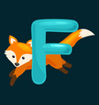 animals alphabet for kids fish letter f cartoon vector image
