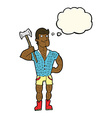 cartoon lumberjack with thought bubble vector image