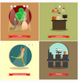 set of performing arts concept posters in vector image