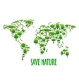 World map with green trees for eco design vector image