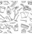 objects in backyard garden seamless pattern vector image