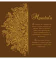 mandala Brown background Gold ornament vector image