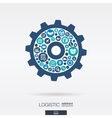 Color circles icons in a cogwheel shape vector image