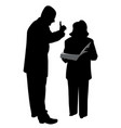 boss giving order or warning female employee vector image