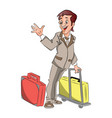businessman with luggage waving goodbye vector image