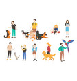 collection of people with pets isolated on white vector image