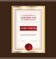 golden template certificates with a vintage print vector image
