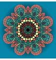 Green and red mandala ornament over azure vector image