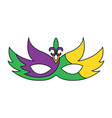 mardi gras glitter mask with fleur-de-lis carnival vector image