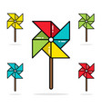 set of colorful toy pinwheels line flat vector image