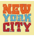 T shirt typography New York red blue yellow vector image