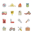 Travel icons set flat outline style vector image