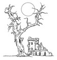 tree and ruin castle vector image vector image